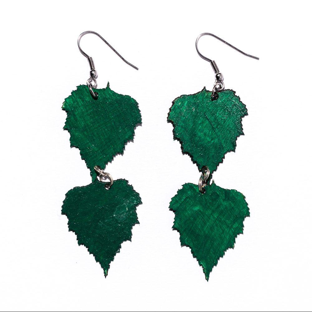 Koivunlehti -korvakorut vihreä