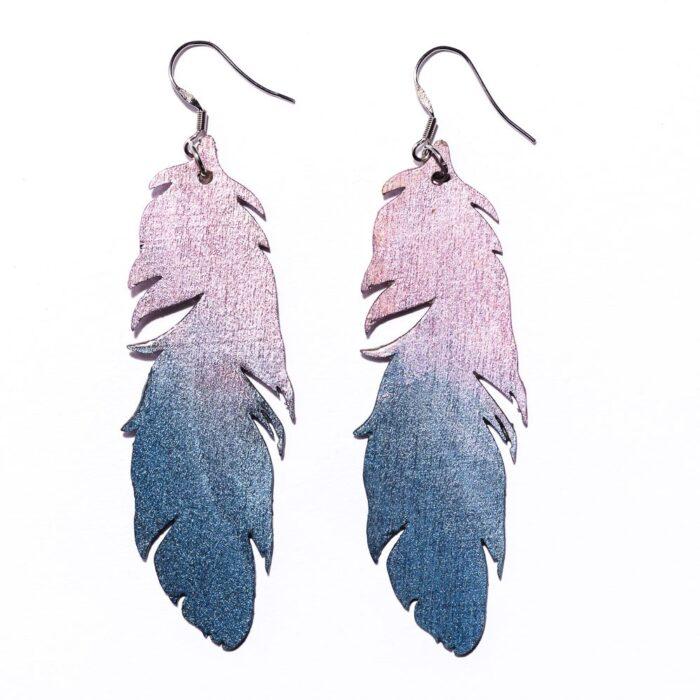 Sulkasopu -korvakorut sininen/lila