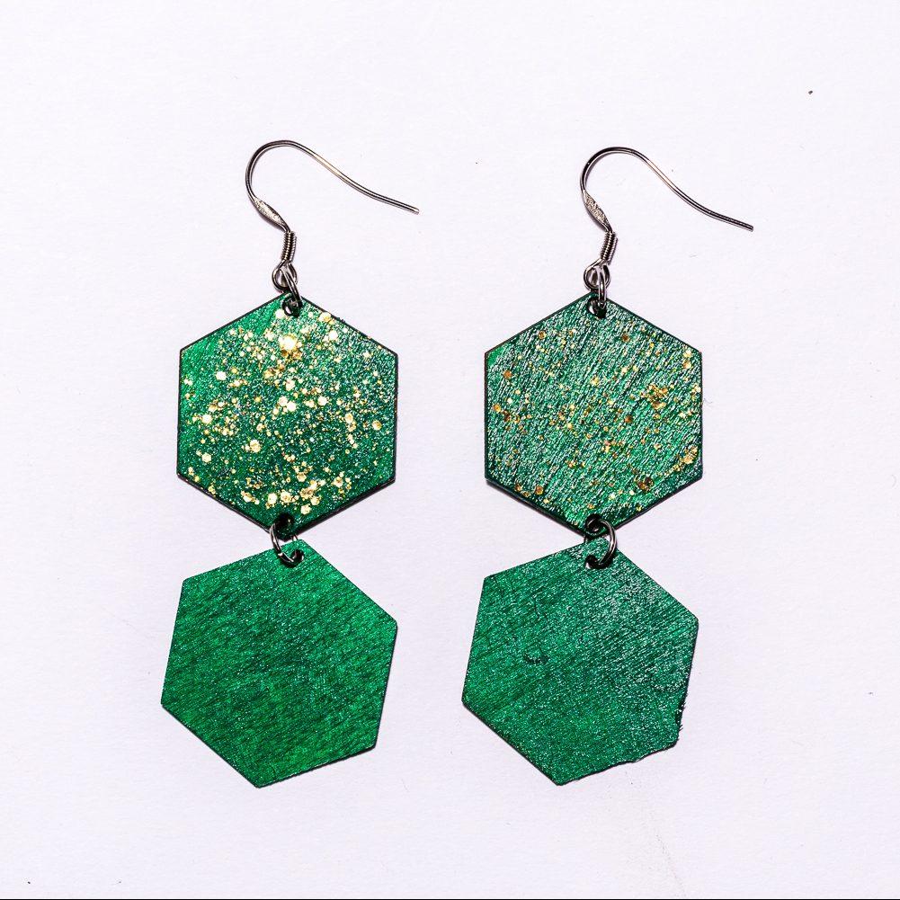 Kenno6 -korvakorut vihreä/kultavihreä