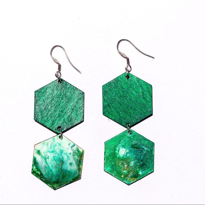 Kenno6 -korvakorut vihreä/marmoroitu vihreä
